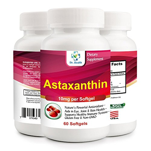 Astaxanthin 10mg 60 Softgels Powerful all Natural Antioxidant & Carotenoid High Purity Extra Strength Aids Eye, Brain, Joint, Skin, Heart Health & Anti-Aging (up to 2months supply) by Dr.Health