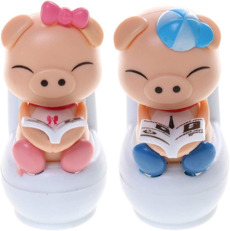 U//K Nettes solarbetriebenes Wackelkopf-Schwein das auf Toiletten-Ausgangsauto-Verzierungs-Kind-Spielzeug-Rosa sitzt Umweltfreundlich und praktischlanglebig