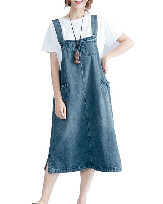 ad692583e2 Women Casual Sleeveless Shift Loose Denim Suspender Skirt Long Vest Dress  Denim Blue L