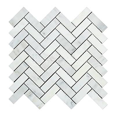 Carrara White Italian (Bianco Carrara) Marble Herringbone Mosaic Tile