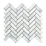 Carrara White Italian (Bianco Carrara) Marble 1 X 3 Herringbone Mosaic Tile, Polished
