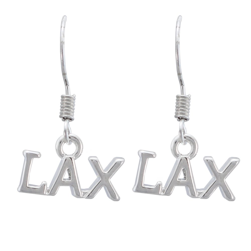 LAX Lacrosse Earrings - LAX Charm Silver Dangle Earrings