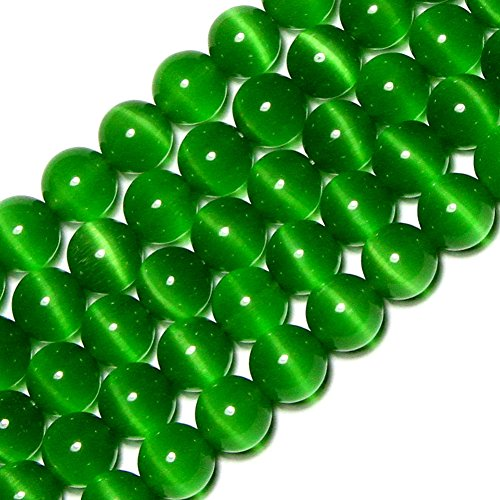 GEM-inside 10mm Round Dark Green Cat Eye Beads For Jewelry Making Loose Beads Strand 14 (Round Green Cats Eye)