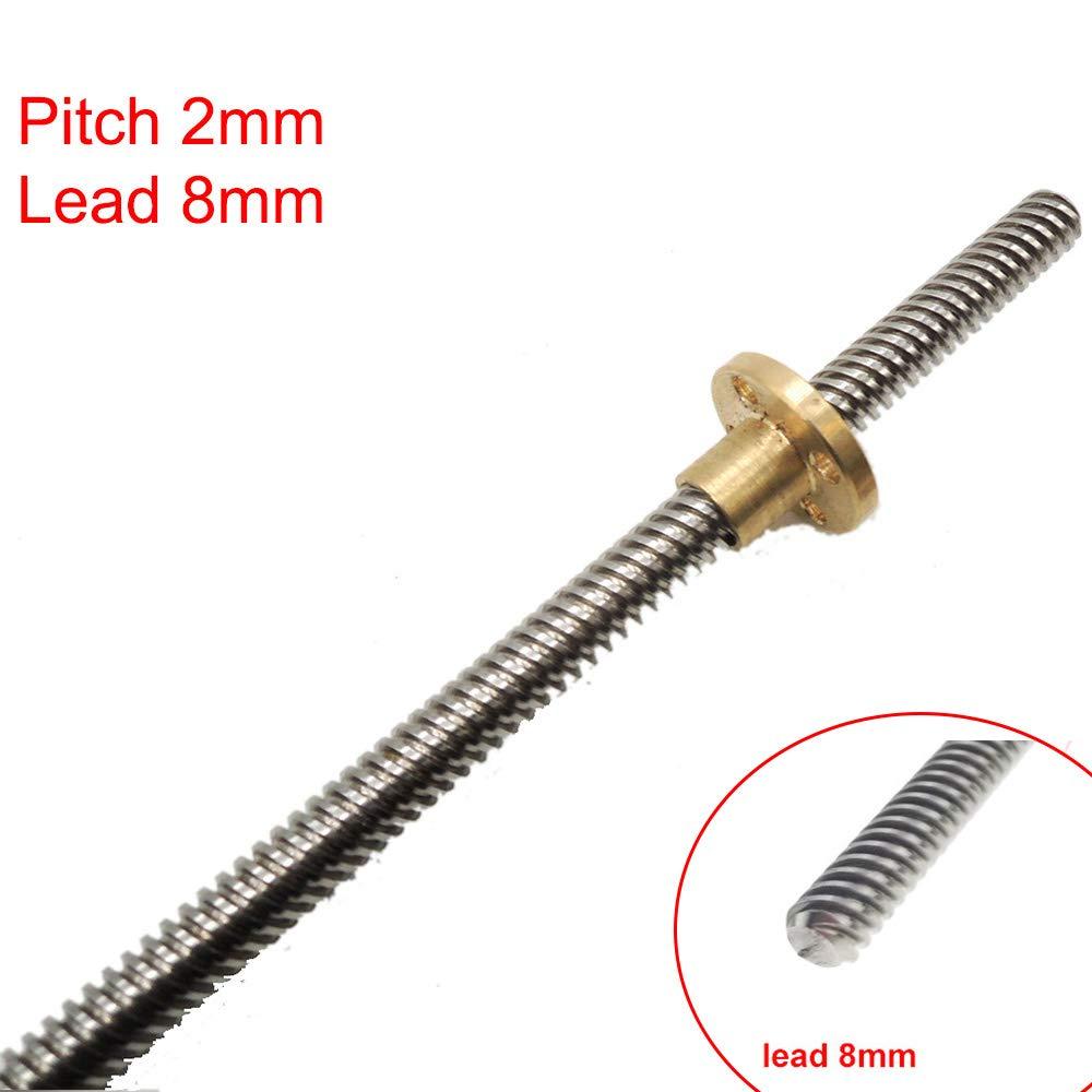 8D 3D Drucker Teil T8 F/ühren Schraube Dia 8 mm Pitch 2 mm Blei 8 mm L/änge 200 mm mit Kupfer Mutter thsl-200