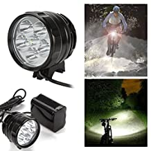 7200 Lumens Cree XML-T6 6LED Night Cycling Front Bike Headlamp Lamp Waterproof Rechargeable Bicycle Head Light with Battery and Charger (Black)