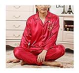 Respeedime Autumn Home Service Silk Pajamas Summer Men 's Long Sleeved Trousers Sets Sleepwear