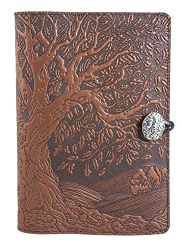 Genuine Leather Refillable Journal Cover + Hardbound Blank Insert - 6x9 Inches - Tree of Life, Saddle With Pewter Button - Made in the USA by Oberon Design by Oberon Design (Image #2)