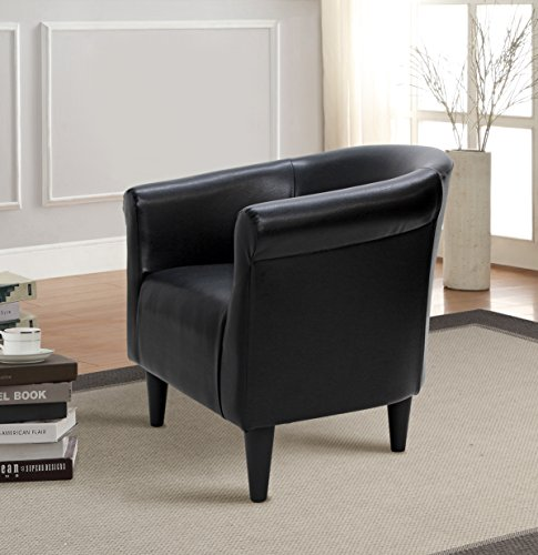 (Mainstays Bucket Accent Chair, Black Finish, 100.00% Faux Leather)