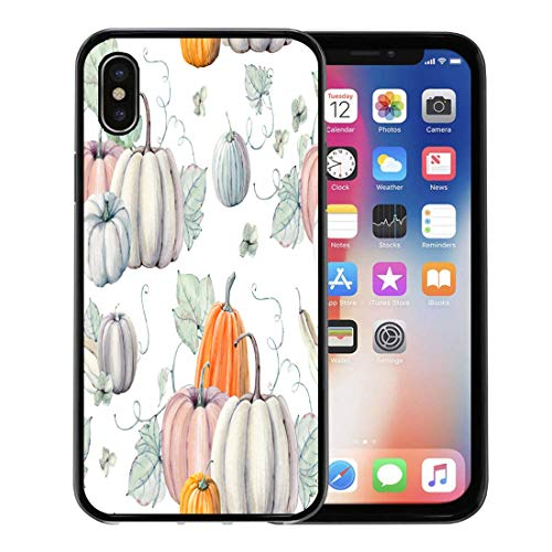 Semtomn Phone Case for Apple iPhone Xs case,Pattern Watercolor Pumpkins It is Thanksgiving Halloween Recipe Fall Harvest for iPhone X Case,Rubber Border Protective Case,Black]()