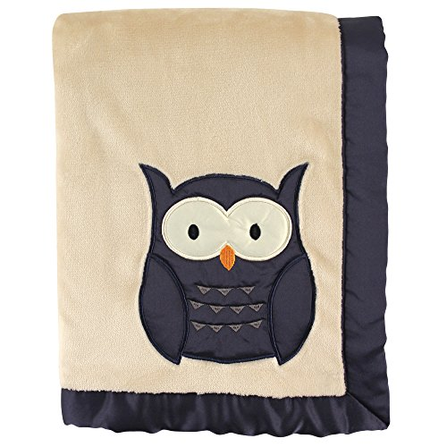 Hudson Baby Plush Blanket with Satin Applique & Binding, Navy Owl (Blanket Plush Owl)