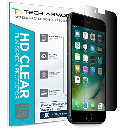 iPhone 6 Privacy Screen Protector, Tech Armor 4Way 360 Degree Privacy Apple iPhone 6S / iPhone 6 (4.7-inch) Film Screen Protector [1-Pack] (Best Iphone 6 Privacy Screen)