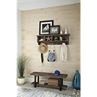 Alaterre AZAMBA032420 Sonoma 48 Metal and Reclaimed Wood Wall Coat Hook with Bench, Brown