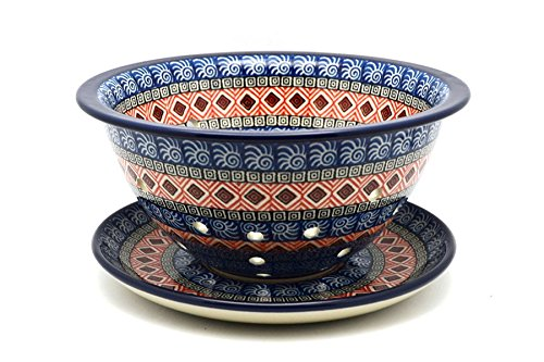 Polish Pottery Berry Bowl with Saucer - Aztec Sun