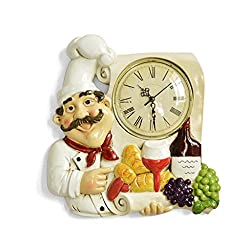 American country creative chef wall clock living room kitchen restaurant mute clock vintage art wall clock,A