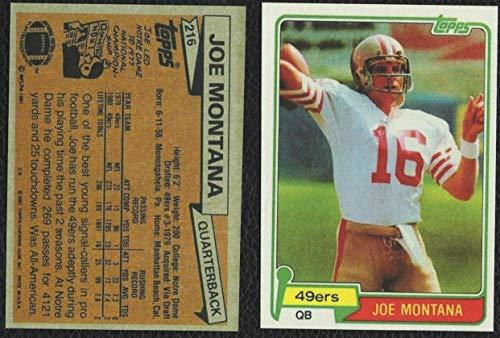 1981 Topps #216 JOE MONTANA Rookie Card San Francisco 49ers Notre Dame REPRINT - Football Card (Joe Montana Football Trading Card)