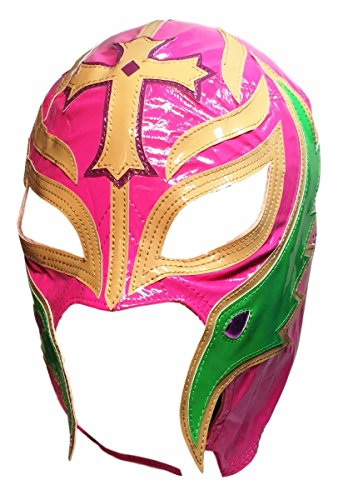 [WWE REY MYSTERIO Kid Size Pink With Tan and Green Trim Replica MASK] (Wwe Girl Costumes)
