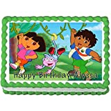 Dora and Diego Edible Frosting Sheet Cake Topper - 1/4 Sheet by Cake Topper Designs