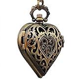 VIGOROSO Women's Vintage Steampunk HEART Harry Potter Locket Style Pendant Pocket Watch