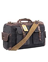 Overnight Bag Canvas Leather Travel Duffel Bag for Men and Women Weekend (Dark Grey)