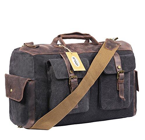 Overnight bag Canvas Genuine Leather Travel Duffel Bags for Men and Women Weekend (Large Dark Grey) (Genuine Garment Bag)