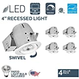 Nadair 4in LED Recessed Lighting Kit (x4) Swivel Spotlight Dimmable Downlight - IC Rated - 3000K Warm White PAR20 630 Lumens Bulbs (50 Watts Equivalent) Included - 4-Pack White Color - CP378L-PR4WH