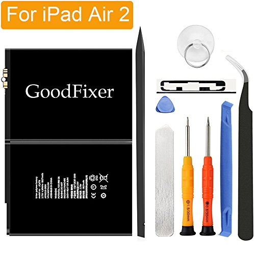 GoodFixer for Apple iPad Air 2/iPad 6 Battery Replacement with Complete Repair Tools Kit, Adhesive Strip 0 Cycle - 7340mAh Li-ion Replacement Battery [365 DAYS Warranty] by GoodFixer