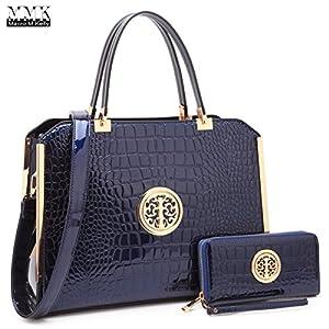 Womens Handbags & Purse Ladies Designer Satchel Tote Bag Shoulder Bags~Fashion Women handbag~Top handle Satchel purse (10-6900-W-Blue)