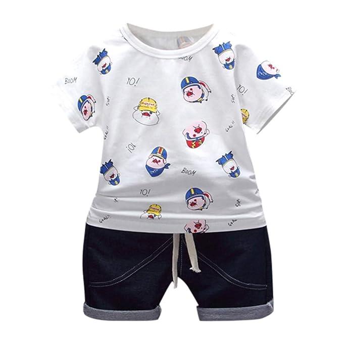8e84850a2 Mitlfuny Niños Camisetas de Manga Corta Jeans Verano Ropa Dibujos Animados  Cerdo Estampado Camisas para Bebé