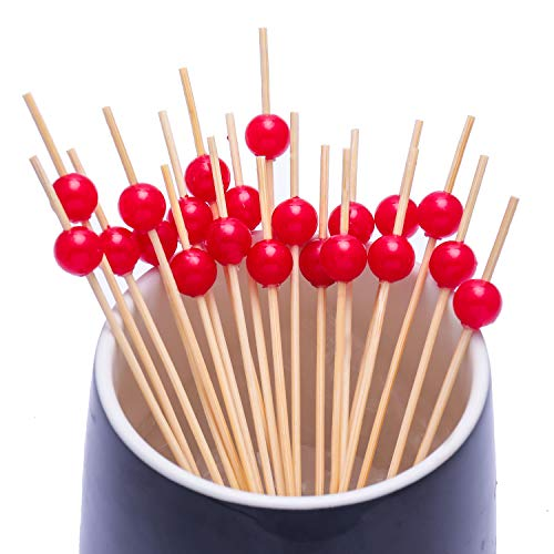 Cocktail Picks Handmade Bamboo Toothpicks 4.7'' Multicolor Party Supplies (100 Count, Red Pearl) by AI-DEE (Image #3)