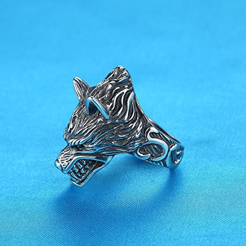 LineAve Men's Stainless Steel Wolf Biker Ring, Size 10, 8h5057s10 by LineAve (Image #2)