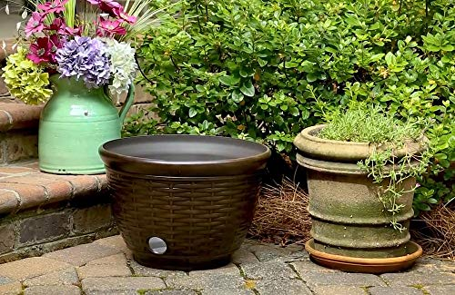 Liberty Garden Products 1920 High Density Resin Wicker Design Garden Hose Pot, Bronze