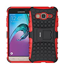 Case for Samsung Galaxy J3 2016 ,Fetrim Rugged Dual Layer Shockproof TPU Case Protective Cover for Samsung Galaxy J3 2016 with Built-in Kickstand (Red)