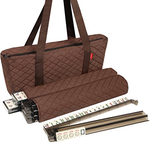 NEW! - Linda Li™ American Mahjong Set - 166 Premium Ivory Tiles, All-In-One Rack/Pushers, Brown Soft Bag - Classic Full Size Complete Mah Jongg Game Set by American-Wholesaler Inc.