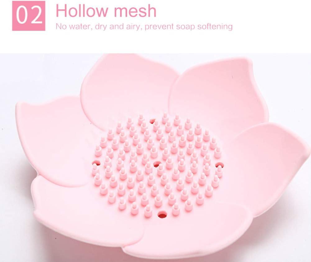 2PCS Lotus Shape Soap Dish Anti-slip Soap Draining Case for Toilet Salon Home