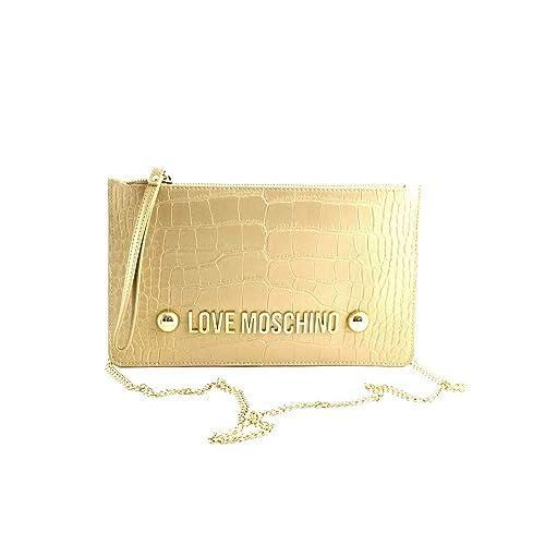 Love Moschino Borsa tracolla piccola donna pelle croco oro metallizzato.  Tracolla con catenella rame. Tasca esterna e chiusura con cerniera.  Amazon. it  ... 1145eb4ed33