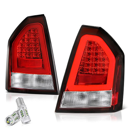 300 Led Tail Lights Lamps - VIPMOTOZ Red Lens Premium OLED Neon Tube LED Tail Light Housing Lamp Assembly For 2005-2007 Chrysler 300 - CREE LED Reverse Bulbs Included, Driver & Passenger Side Replacement Pair