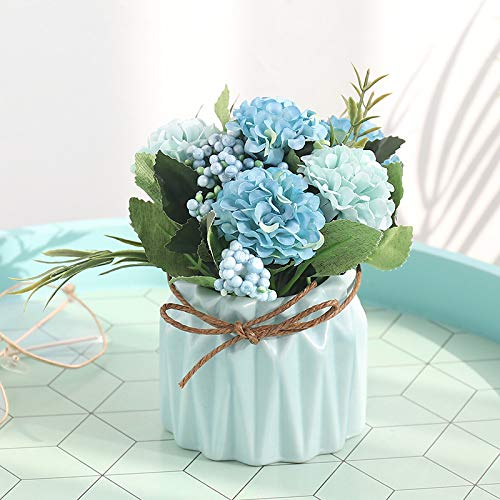 (Woooow Artificial Hydrangea Flower Potted Artificial Plants,Hydrangea Silk Flowers with Ceramic Geometric Planter,Artificial Flower Bonsai for Living Room, Desk,Office, Shelf Decor (Blue))