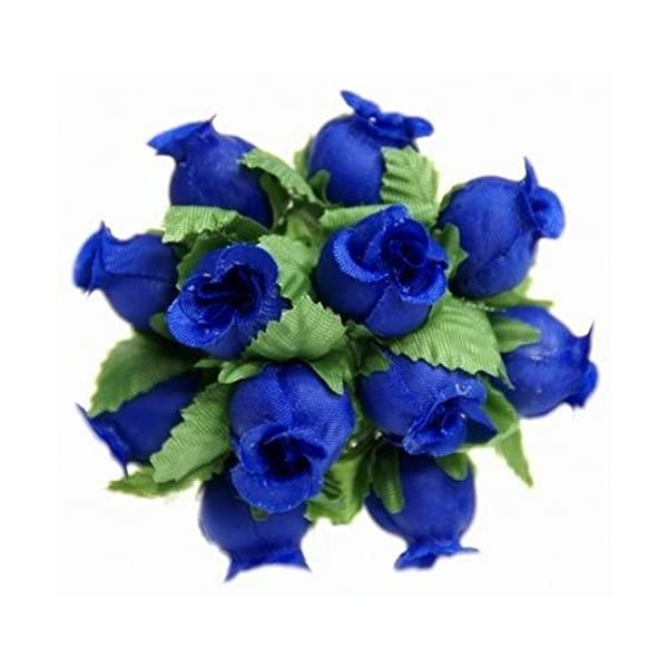144 Miniature Poly Rose Silk Favor Flower Pick Wedding Shower – Royal Blue