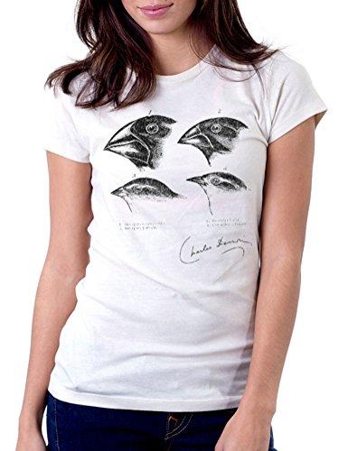 Charles Darwin Finches Evolution Science - Womens Tee T-Shirt, Large, - Darwin Women