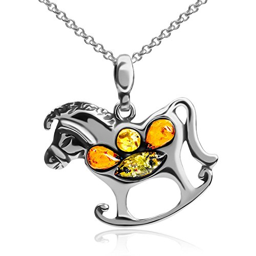 Multicolor Amber Sterling Silver Rocking Horse Pendant Necklace 18