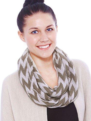 Simplicty Women's Chevron Sheer Infinity Scarf Zig Zag Striped, Khaki