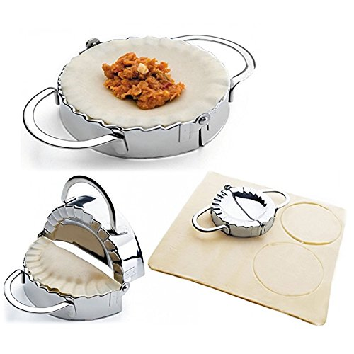 New Stainless Steel Ravioli mould Dumpling Maker Wrapper Pierogie Pie Crimper Pastry Dough Press Cutter Kitchen Gadgets (M 4inch) by i Kito