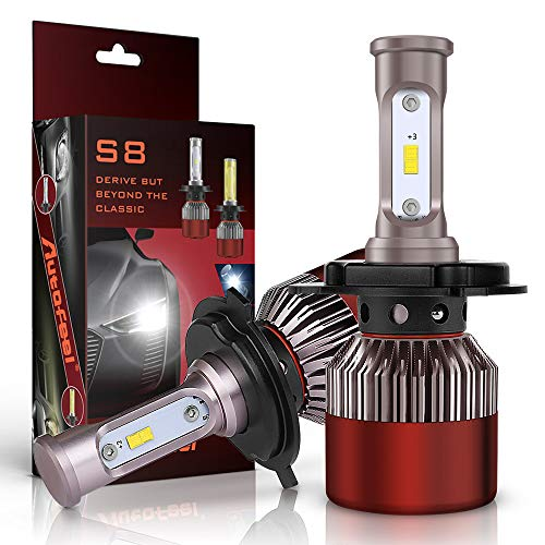 (H4 LED Headlight Bulbs Super Bright Car Exterior White Built-in Driver Lamp All-in-One Conversion Bulb Kit with Cool White Lights (Red) - 12 months Warranty)