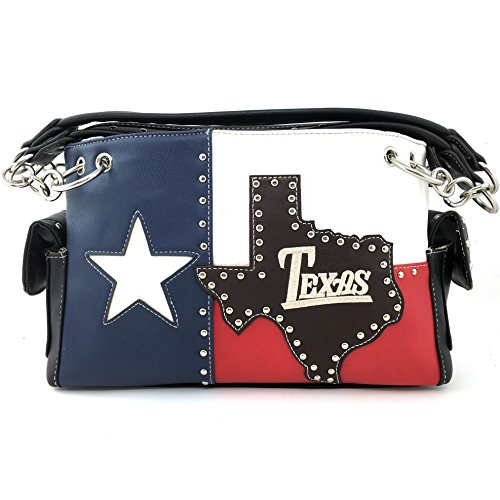 d White Blue Flag Patriotic Chain Shoulder Concealed Carry Handbag Purse Trifold Wallet (Purse Only) ()