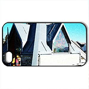 modern Chapel - Case Cover for iPhone 4 and 4s (Modern Series, Watercolor style, Black)