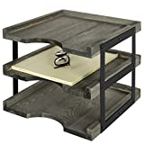 MyGift 3-Tier Vintage Gray Wood & Black Metal Document Tray, Desktop File Folder Organizer