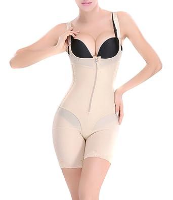 fbc0c858b88 ieasysexy Women Waist Trainer Underbust Corset Thigh Reducer Bodysuit  Shapewear (Nude  1