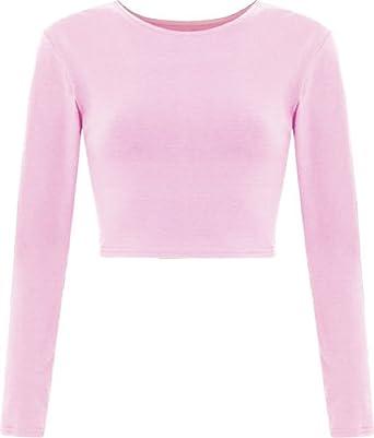 f3c0342ffbc91 ZET New Womens Crop Long Sleeve T Shirt Ladies Short Plain Round Neck Top UK  8-14  Amazon.co.uk  Clothing