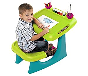 Keter Sit & Draw Kids Art Table Creativity Desk with Arts & Crafts Storage and Removable Cups, Green