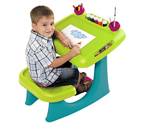 2 Station Art Easel (Keter Sit & Draw Kids Art Table Creativity Desk with Arts & Crafts Storage and Removable Cups, Green)